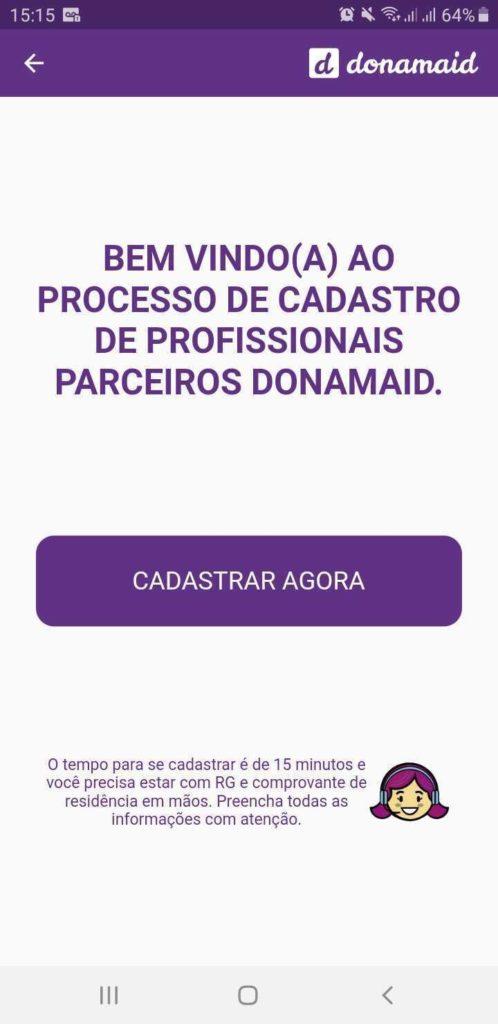 Tela inicial de cadastro de profissionais Donamaid